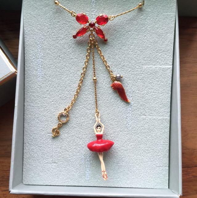 Les Nereids 蝴蝶結 紅色芭蕾項鍊