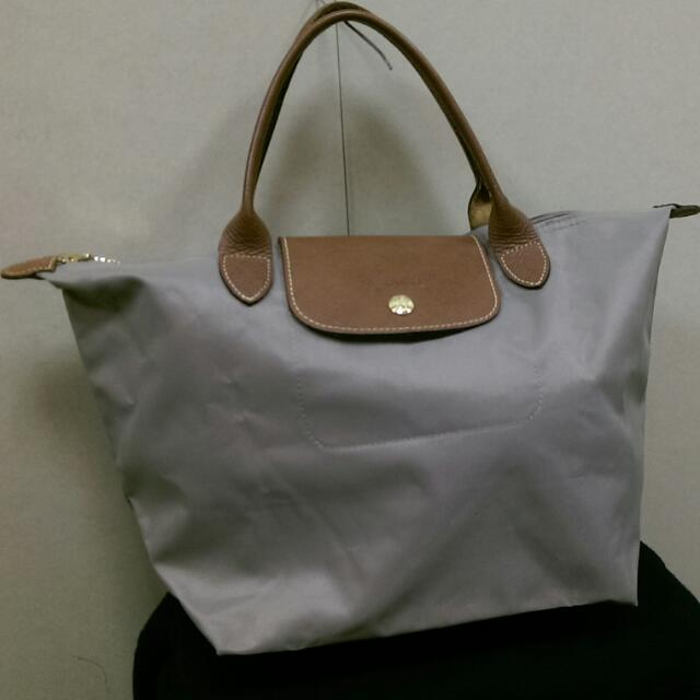 Longchamp灰色m號短把(附購證)