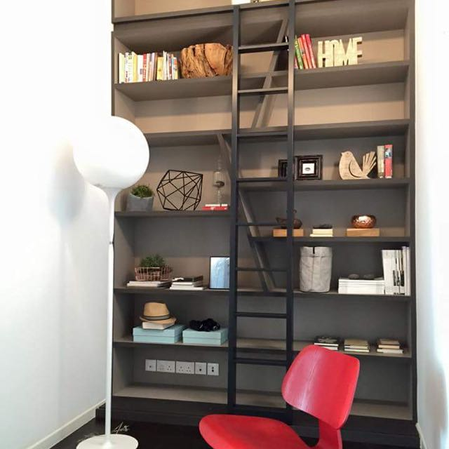 Movable Bookshelf Ladder Steel Furniture Others On Carousell