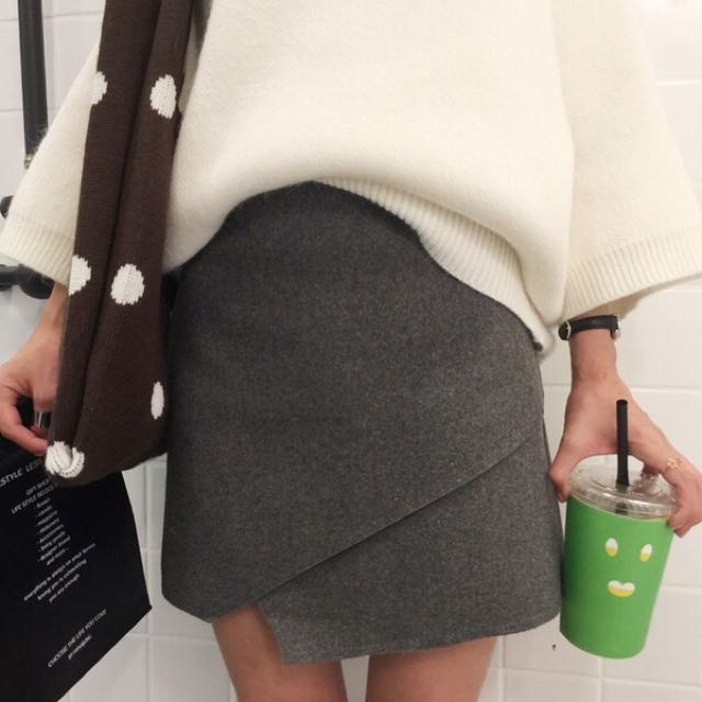 韓國設計款三色毛呢窄裙(S/M/L)