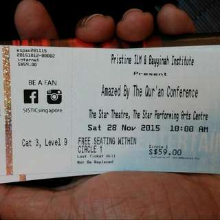 Amazed By The Quran (1 Ticket)