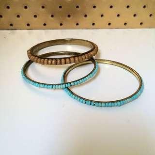 Bead & Brass Bracelets X 3