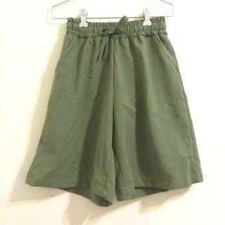 墨綠 短褲 秋冬 素