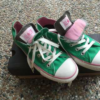 ea98cfce5 Converse All Star Double Tongue Women s Laced Canvas Trainers - Green Pink  Sz US7