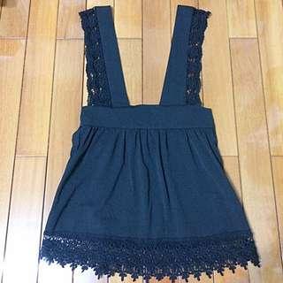 蕾絲吊帶洋裝/黑色