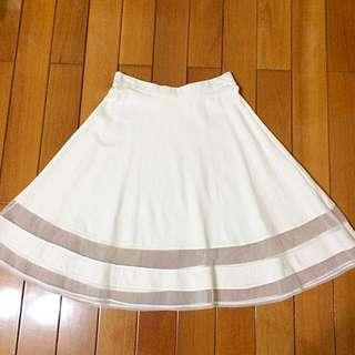 下擺透明裙/白色