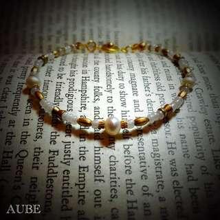 【Aube】 緻細珍白 - 手作珍珠黃銅手鍊
