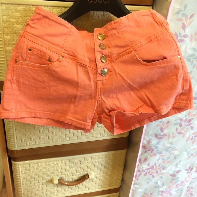 二手❗️橘色高腰褲