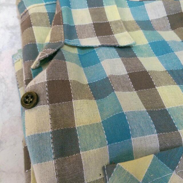 棉麻格子襯衫
