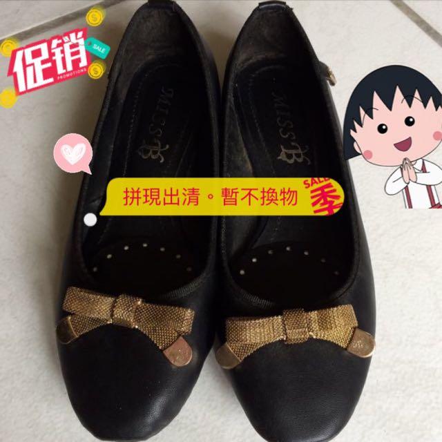 金縷蝴蝶黑色平底鞋