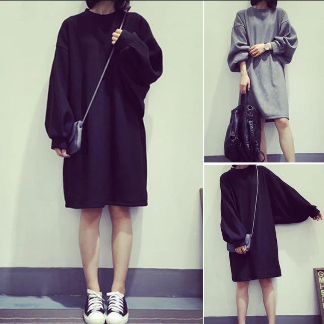 ❇️預購☑️韓版寬松顯瘦中長款連衣裙加厚長袖針織