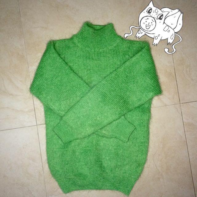 含運 古著 綠色毛衣 毛海 高領 羊毛