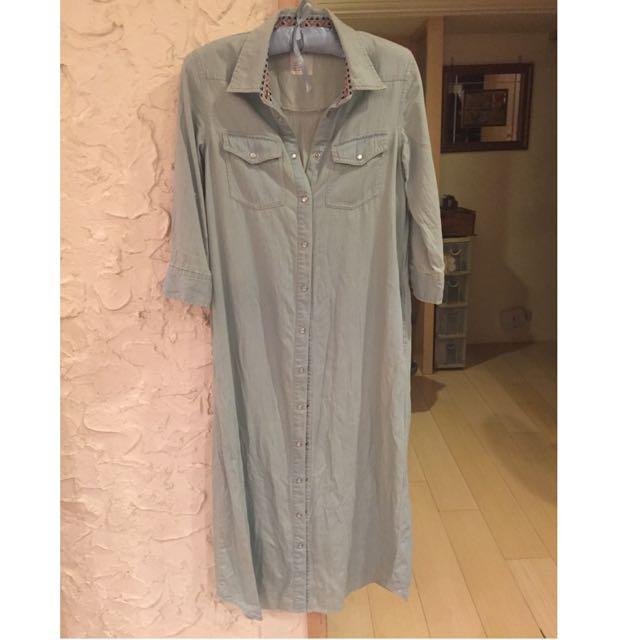 (暫售)🎀日本購回 五分袖 民族領口 淺色牛仔長裙 罩衫🎀