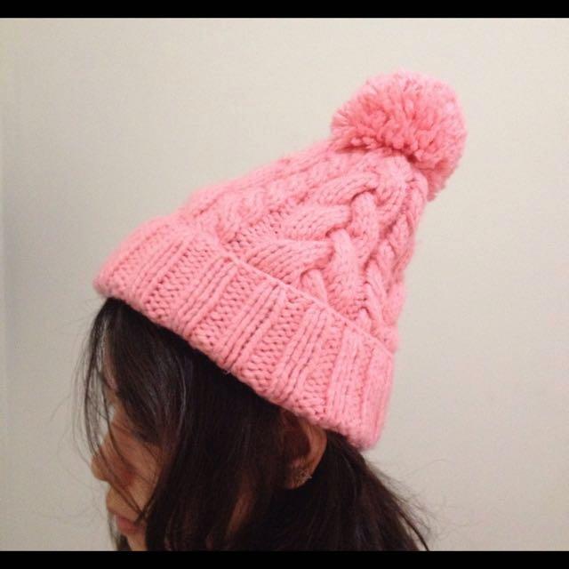 毛帽 大球 麻花 編織 粉橘色