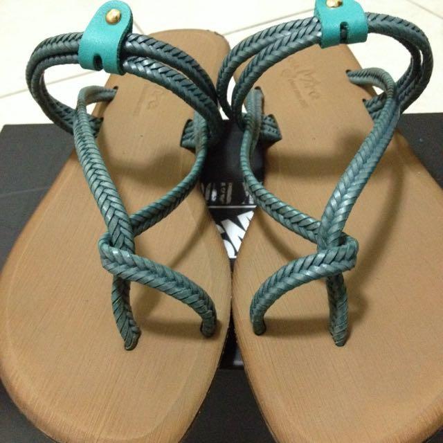 編織 夾腳 涼鞋 低跟 二手 藍綠色
