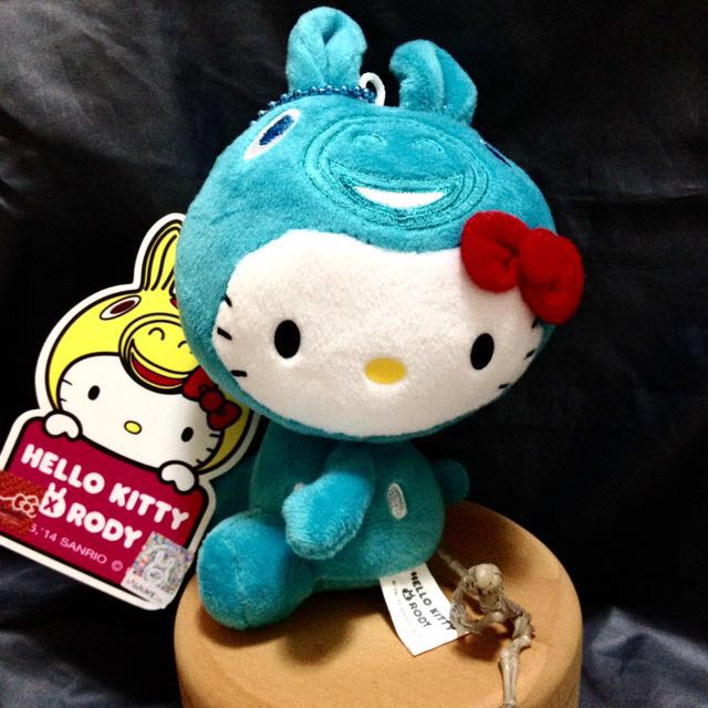 全新 Hello Kitty X Rody 凱蒂貓 跳跳馬 4吋吊飾 玩偶 娃娃 土耳其藍