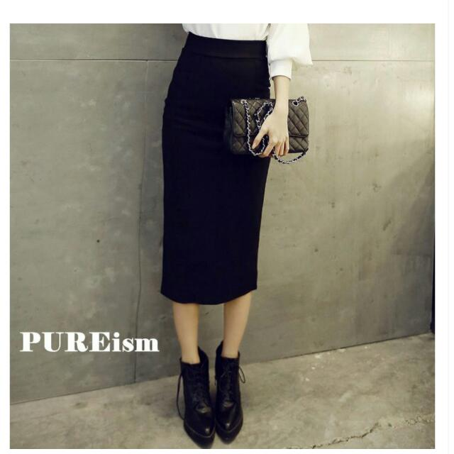 降價✨高質感 優雅OL長版後開衩包臀窄裙
