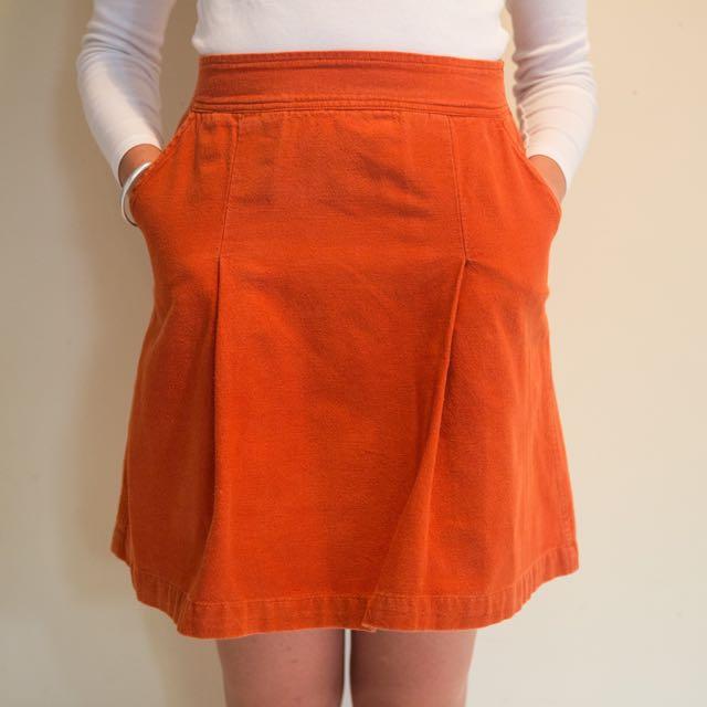 High Waisted Orange Skirt With Pockets