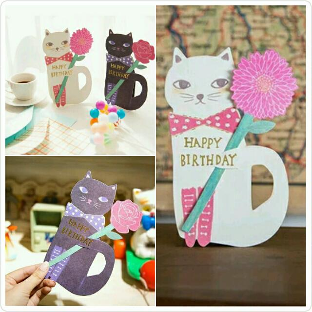 《HONEY PARTY》❤I 貓咪愛花兒立體卡 ❤ 生日卡片/桌上裝飾/立體卡