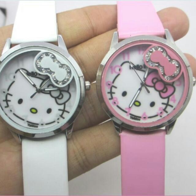 Jam Tangan Hello Kitty Kulit 2 Warna