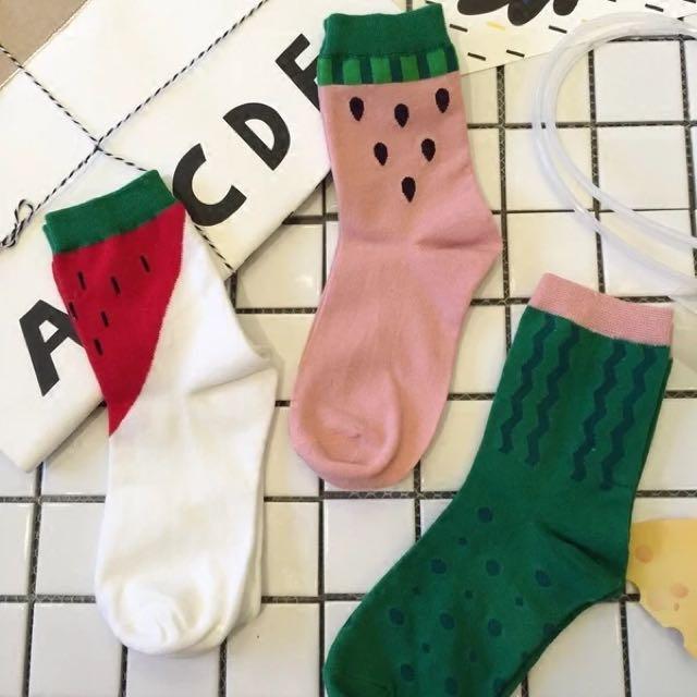 (現貨)kakasa韓國可愛小襪 草莓還是西瓜襪 白底/綠底/粉底