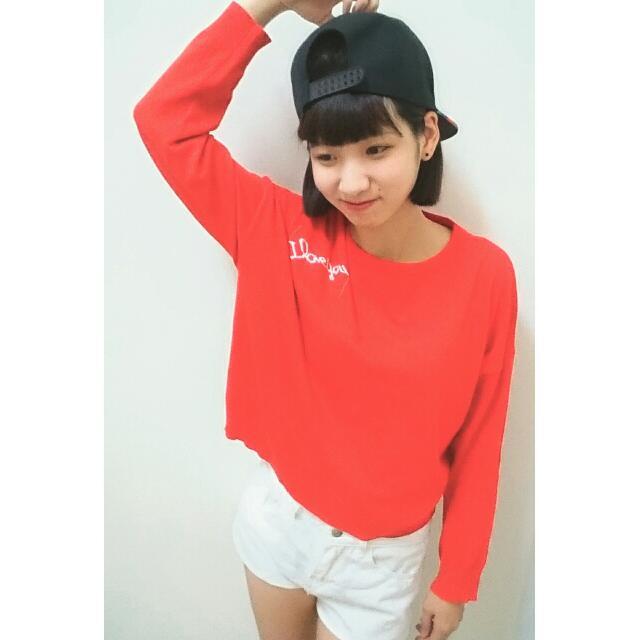 TB✨全新現貨👏韓版紅色短版長袖上衣