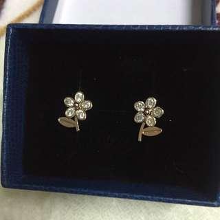韓國飾品🌸小花鑽面造型時尚耳環(附贈盒子)
