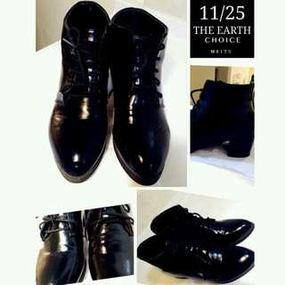 歐美英倫 秋冬特殊款 漆皮黑 俐落 短靴 24 38號