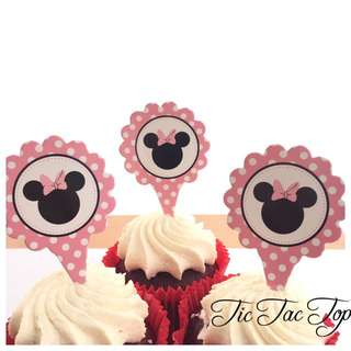 12pcs Disney Minnie Mouse Cupcake Card Toppers