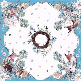 泰國潮牌Rabbitholy綠野仙蹤小鹿圖案印花正方形絲巾圍巾披肩