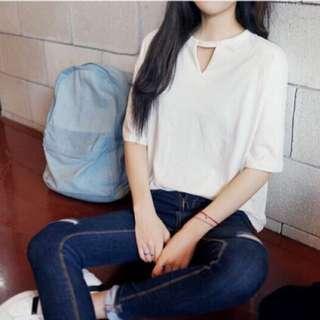 韓版圓領學院風鏤空小心機純色白T