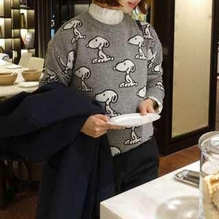 正韓BabiRolen俏皮SNOOPY寬鬆針織圓領毛衣(2色)【NO520113】