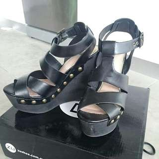 Black Wedges With Studs Detail ( Size 7)