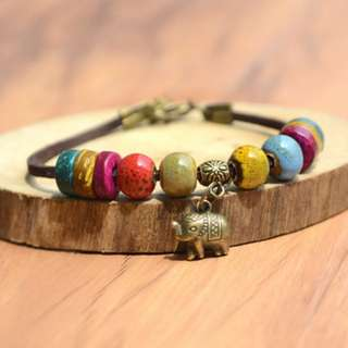 ☆全新現貨☆手工編織民族風陶瓷花釉手鏈 搭配古銅小象