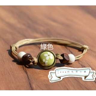 ☆全新現貨☆小清新手工原創設計 陶瓷半面花飾 綠色