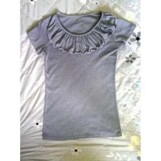 灰色荷葉領T恤