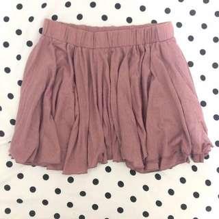 藕粉色鬆緊短裙
