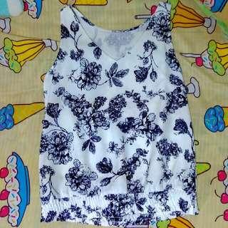 Dressabelle V-necked Blue Porcelain Floral Sleeveless Top