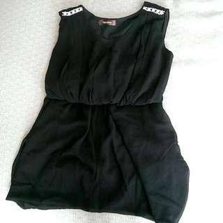 黑色典雅洋裝 附腰封