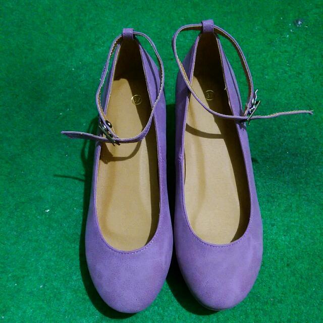 全新✨日系芋紫繫帶厚底鞋