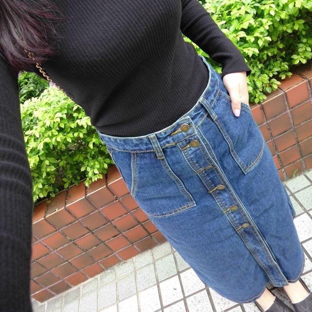 《全新》長版口袋牛仔裙+斜肩造型針織上衣
