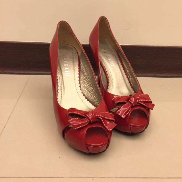 紅鞋女孩等等我漆皮魚口蝴蝶結前高後高粗跟高跟鞋