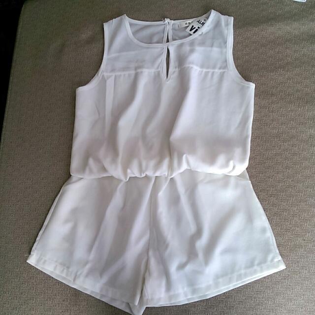 (全新/夏出清)白色連身褲