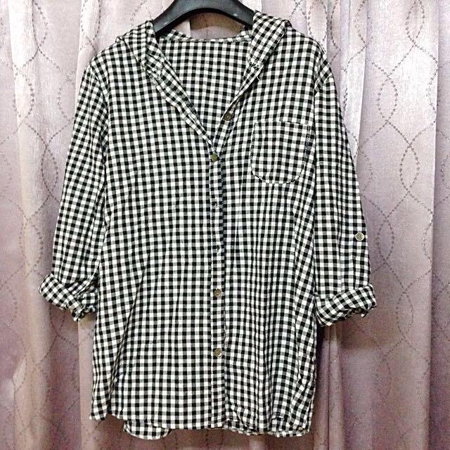 日系格子連帽襯衫。棉。