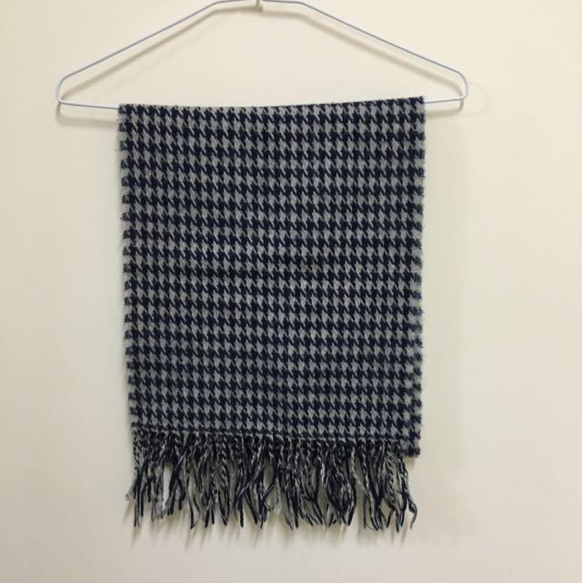 灰藍千鳥格流蘇混色圍巾