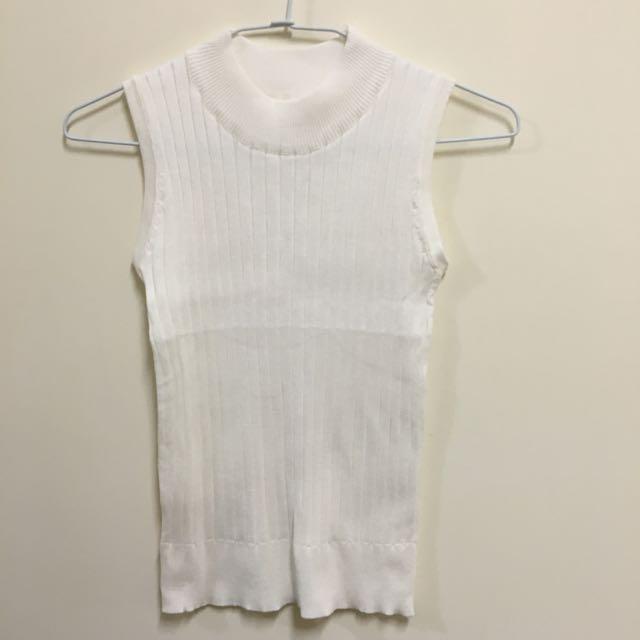 淘寶米白橫條針織高領無袖背心上衣