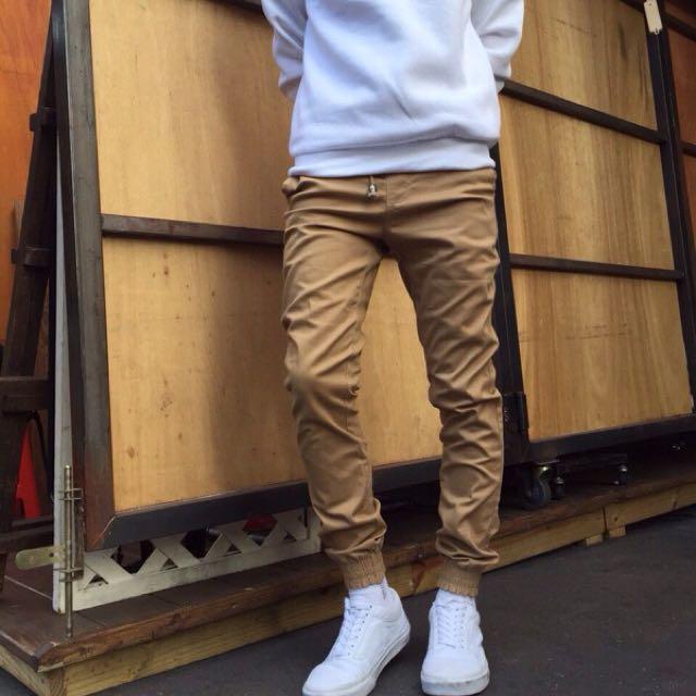 必備基本款)彈性布料束口褲