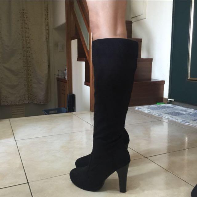 日本購入 黑色麂皮高跟靴子