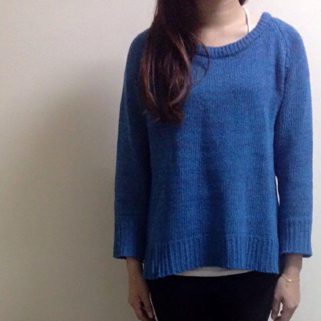 針織毛衣 水藍色