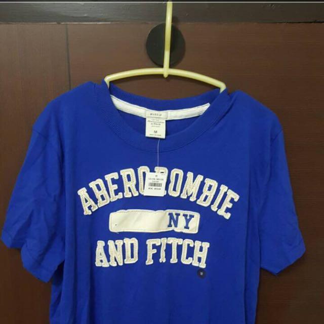 A&F 男短袖T恤 寶藍 M號 正品